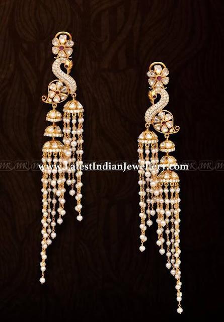 Long Peacock Chandelier Earrings