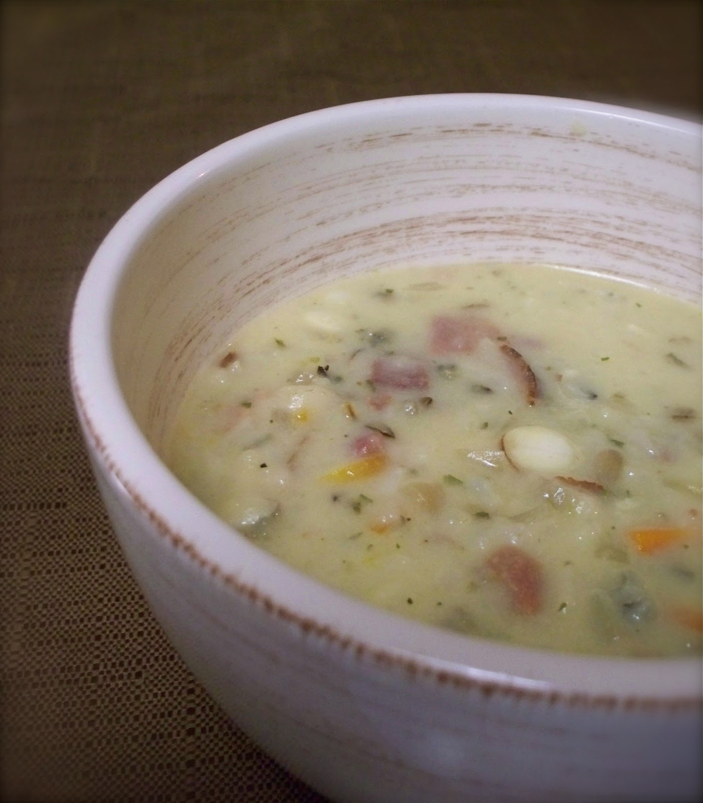 KitchenJoy: {Slow Cooker} Ham and Wild Rice Soup