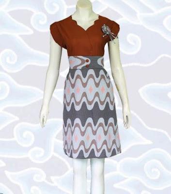 model dress batik kombinasi