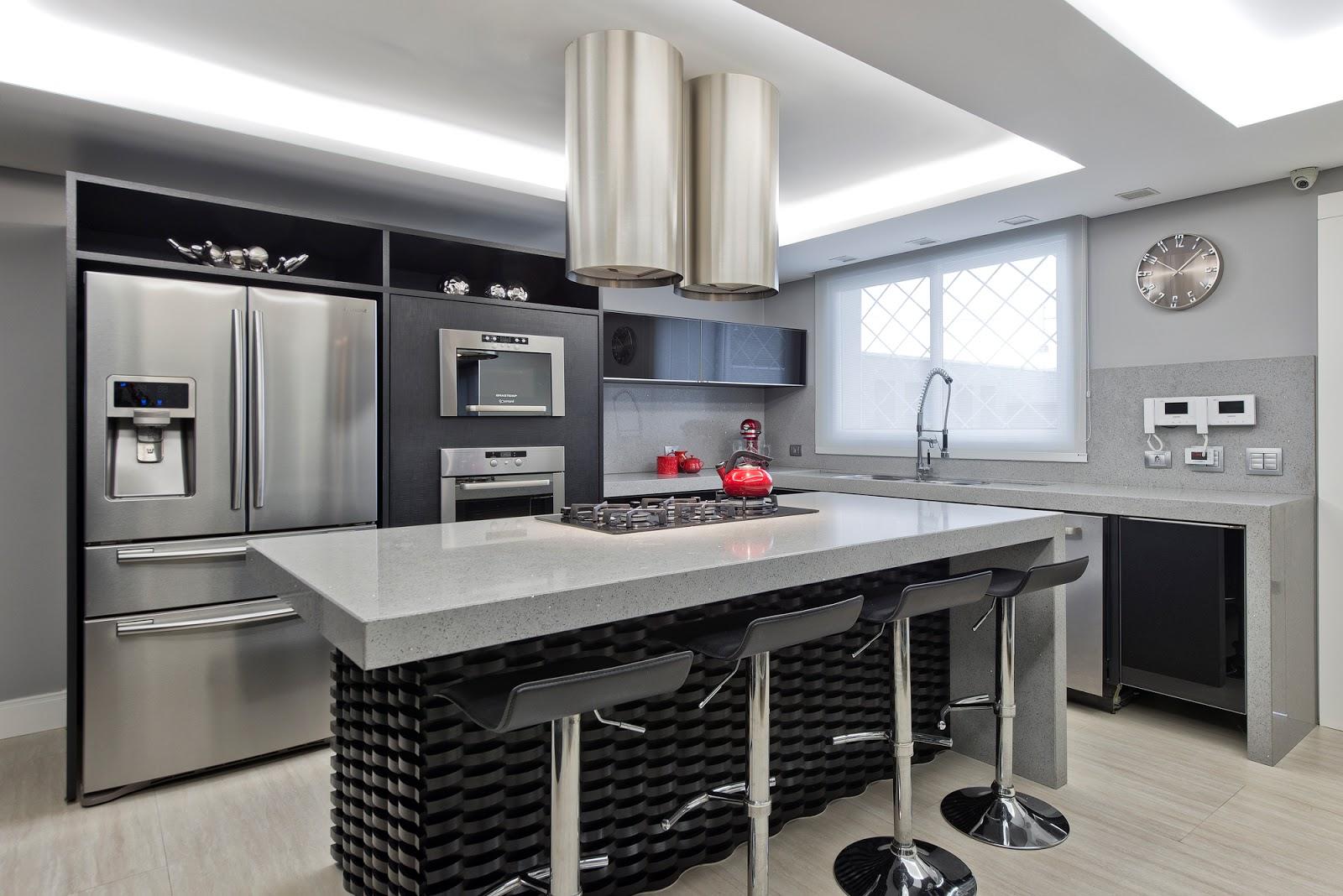 Cozinha Em Tons De Cinza Ousada E Contempor Nea Decorsalteado ~ Cozinha Cinza Com Vermelho