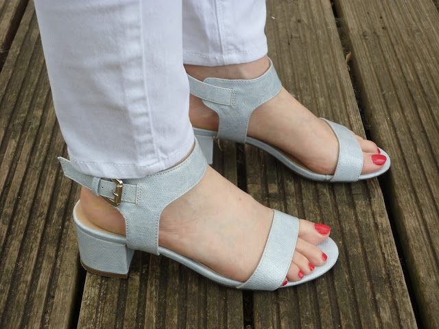 Side view of Pale Blue Sandals
