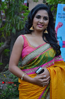 Actress Srushti Dange Latest Pos in Yellow Silk Saree at Saravanan Irukka Bayamaen Tamil Movie Press Meet  0005.jpg