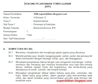 Download RPP Kelas 6 Tema 7 Kurikulum 2013 Revisi 2018