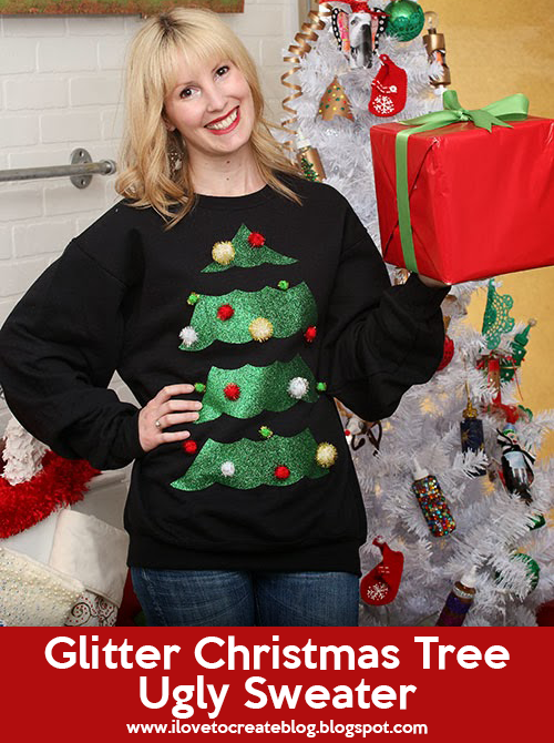 Glitter Ugly Christmas Tree Sweater | Christmas Sweater Ideas You Can DIY On A Budget | diy christmas tree sweater