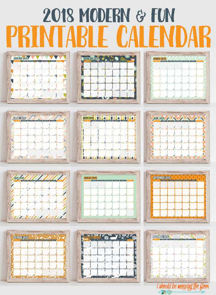 i should be mopping the floor: 2018 Printable Calendar