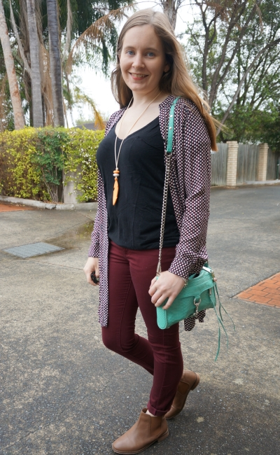 rainy day spring style dress worn as a kimono burgundy pants black tee | Away From Blue