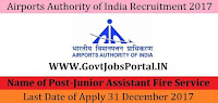 Airports Authority India Recruitment 2017– 170 Junior Assistant
