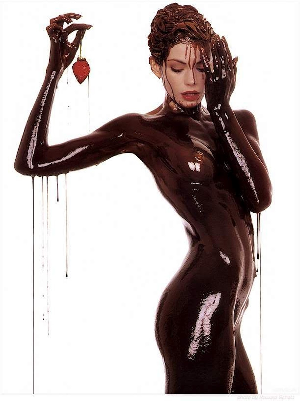 Naked girl covered in chocolate-1336