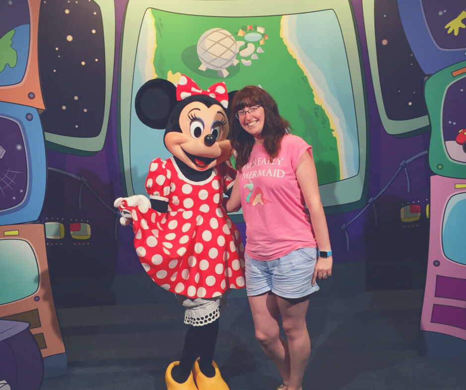 Morgan Prince meeting Minnie Mouse in Epcot, Walt Disney World - one of the things I love most about Walt Disney World