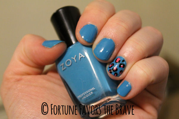 Zoya polish in Robyn with leopard accent nail.