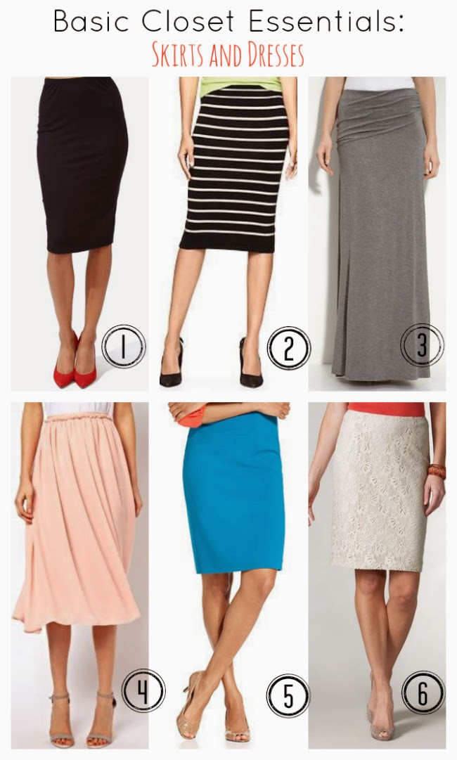 Fill in the holes in your wardrobe great lists for wardrobe basics! Update your basic skirt and dresses wardrobe with this list.