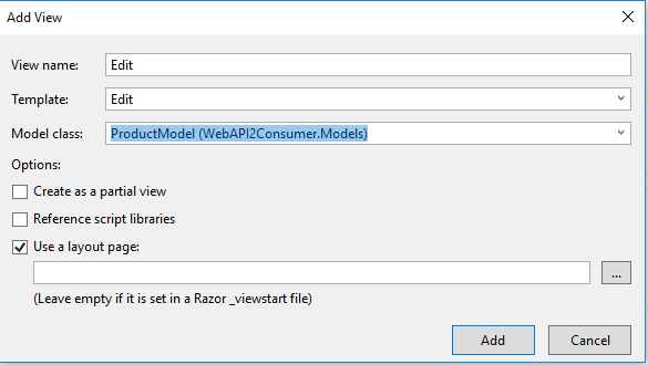 Web API2 CRUD operations using Entity Framework