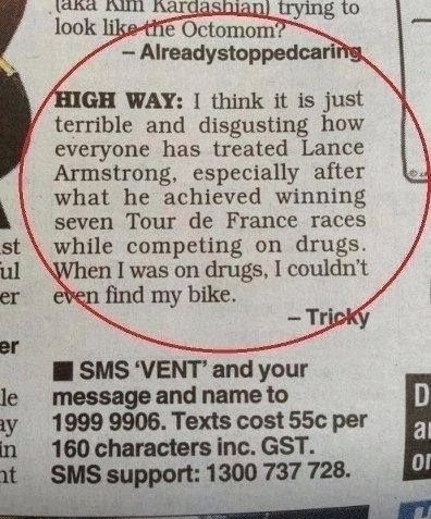 Funny Lance Armstrong Drugs Letter Joke Picture