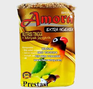 Amora Extra Ngekek adalah pakan burung LoveBird harian dan lomba yang terbuat dari biji bijian berkwalitas yang diperkaya vitamin, Amino-acid dan Mineral untuk menjaga burung agar selalu sehat, berstamina, gacor dan prima.