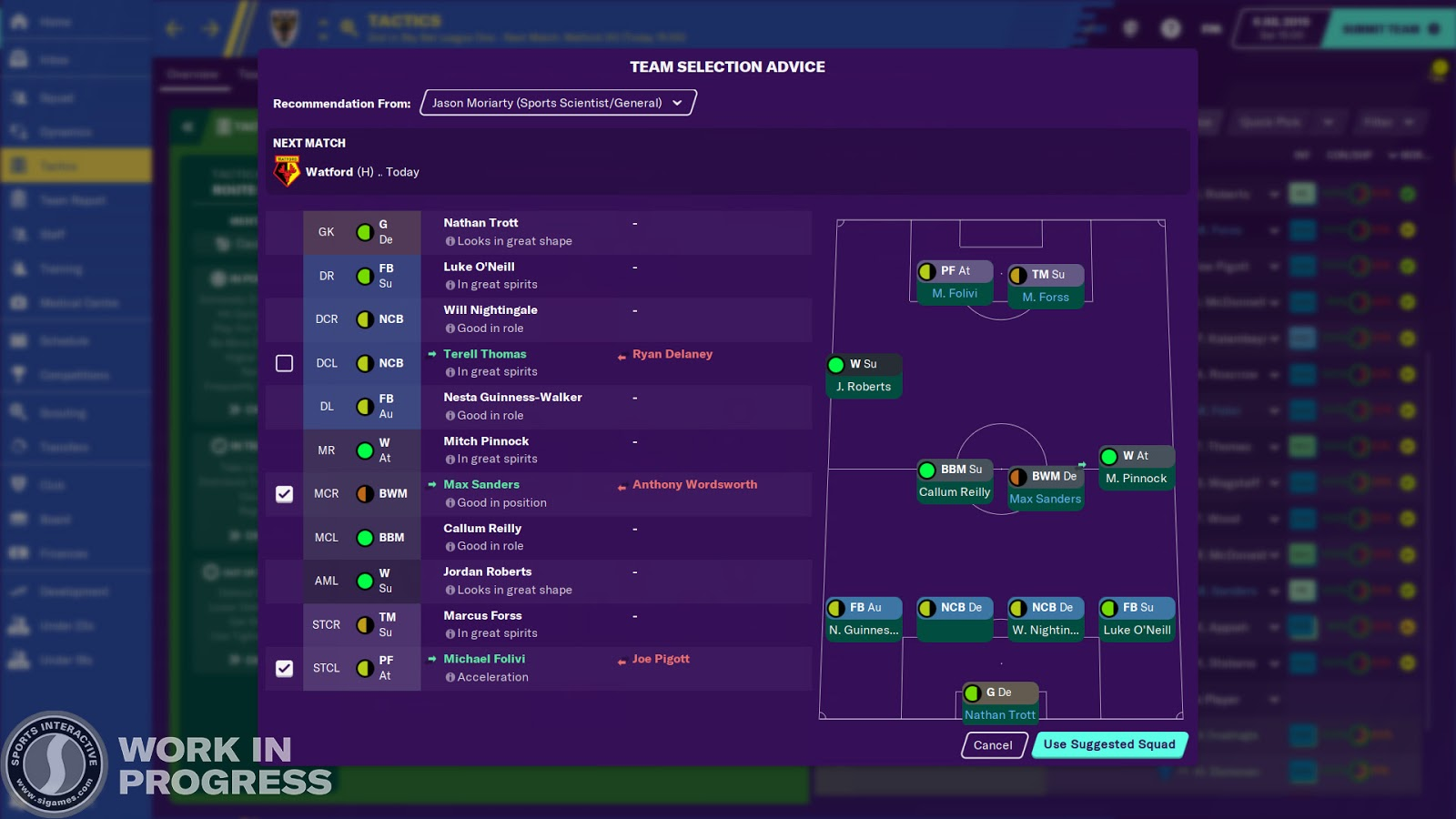 Position feedback on the tactics screen in Football Manager 2020