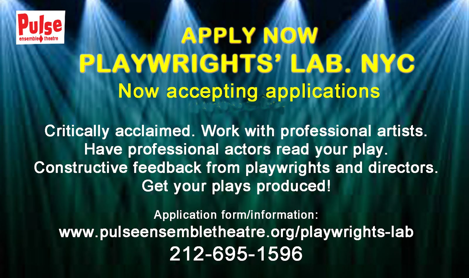 NYCPLAYWRIGHTS: PLAYWRIGHTS' LAB ACCEPTING APPLICATIONS FOR