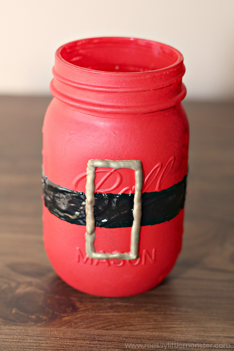 santa painted mason jars - christmas crafts for kids