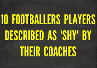 Text in yellow on a black background written '10 players described as shy by their coaches'