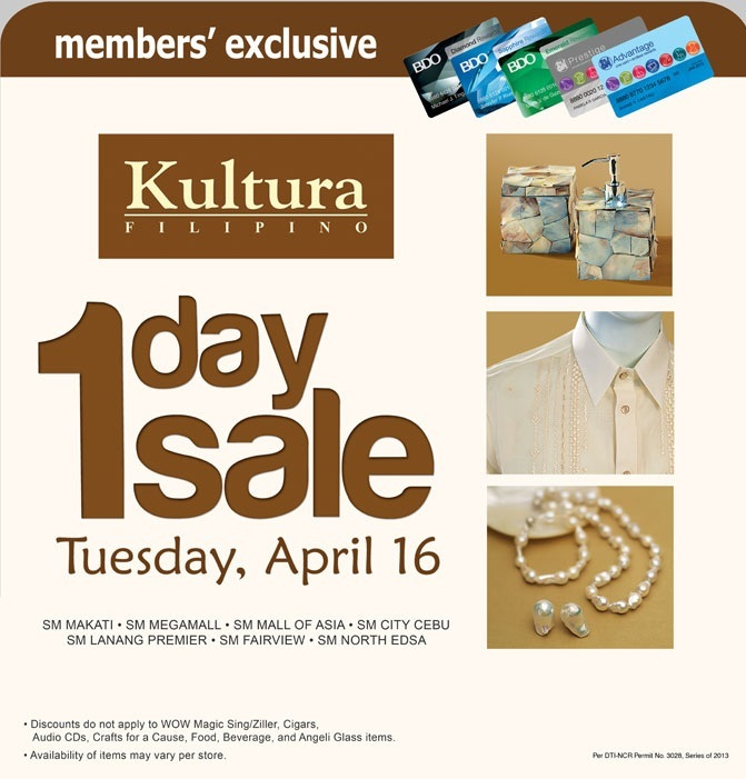 Manila Shopper: Kultura One-Day Sale for SM Advantage
