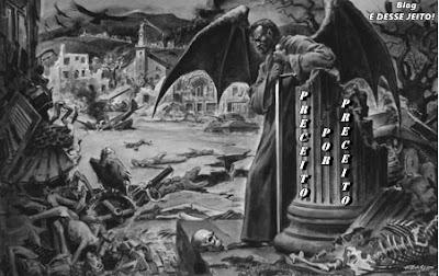 Imagem de satanás derrotado em u mundo em ruínas