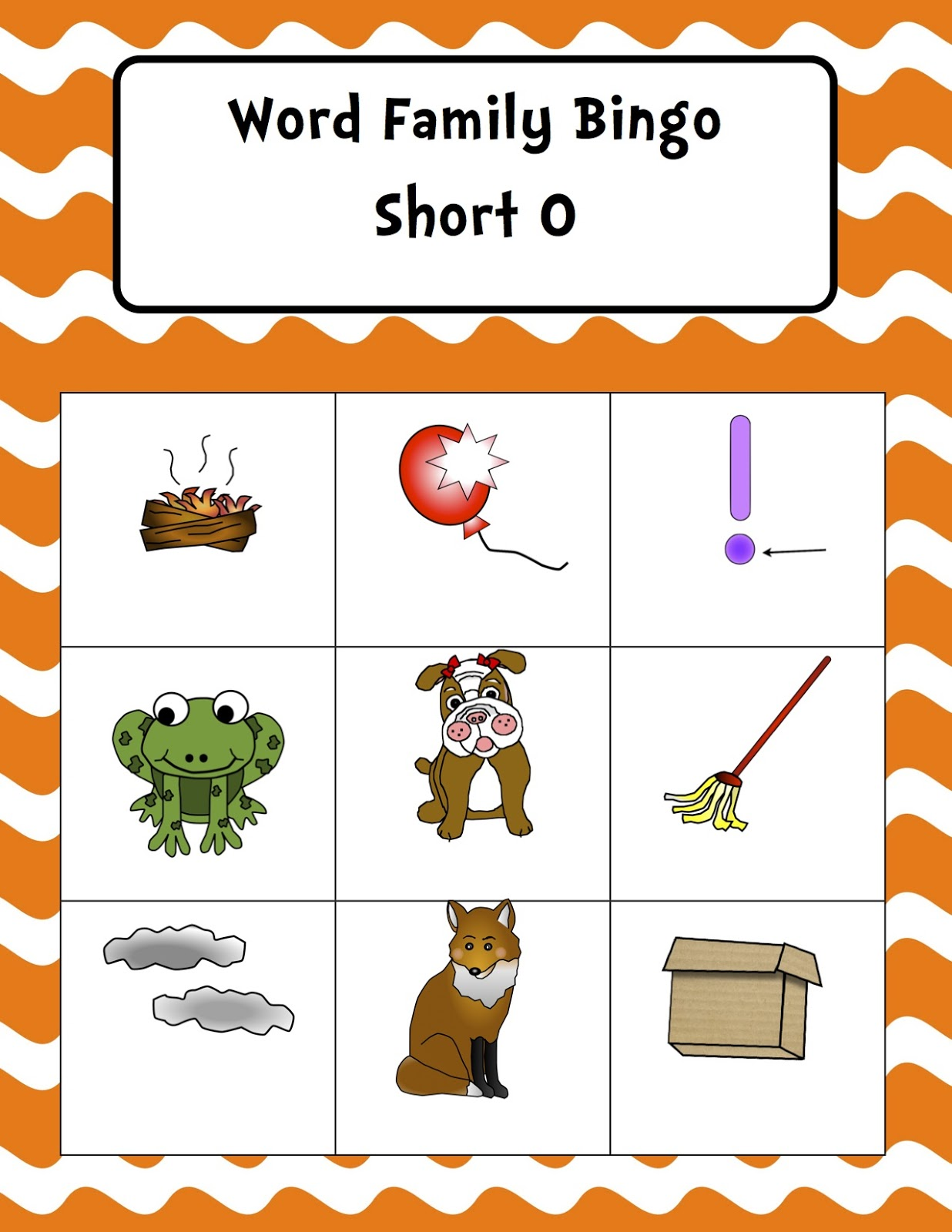 word families, first grade, word work, bingo
