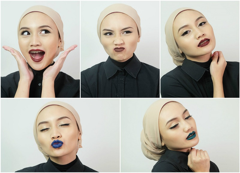 Bash Harry Brunei Beauty Blogger wearing ColourPop Ultra Matte Lip in Rooch, Limbo, LAX, Jellies, and Dr. M