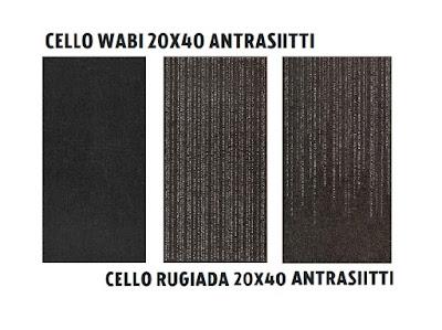 Cello Wabi 20x40 antrasiitti, Cello Rugiada 20x40 antrasiitti