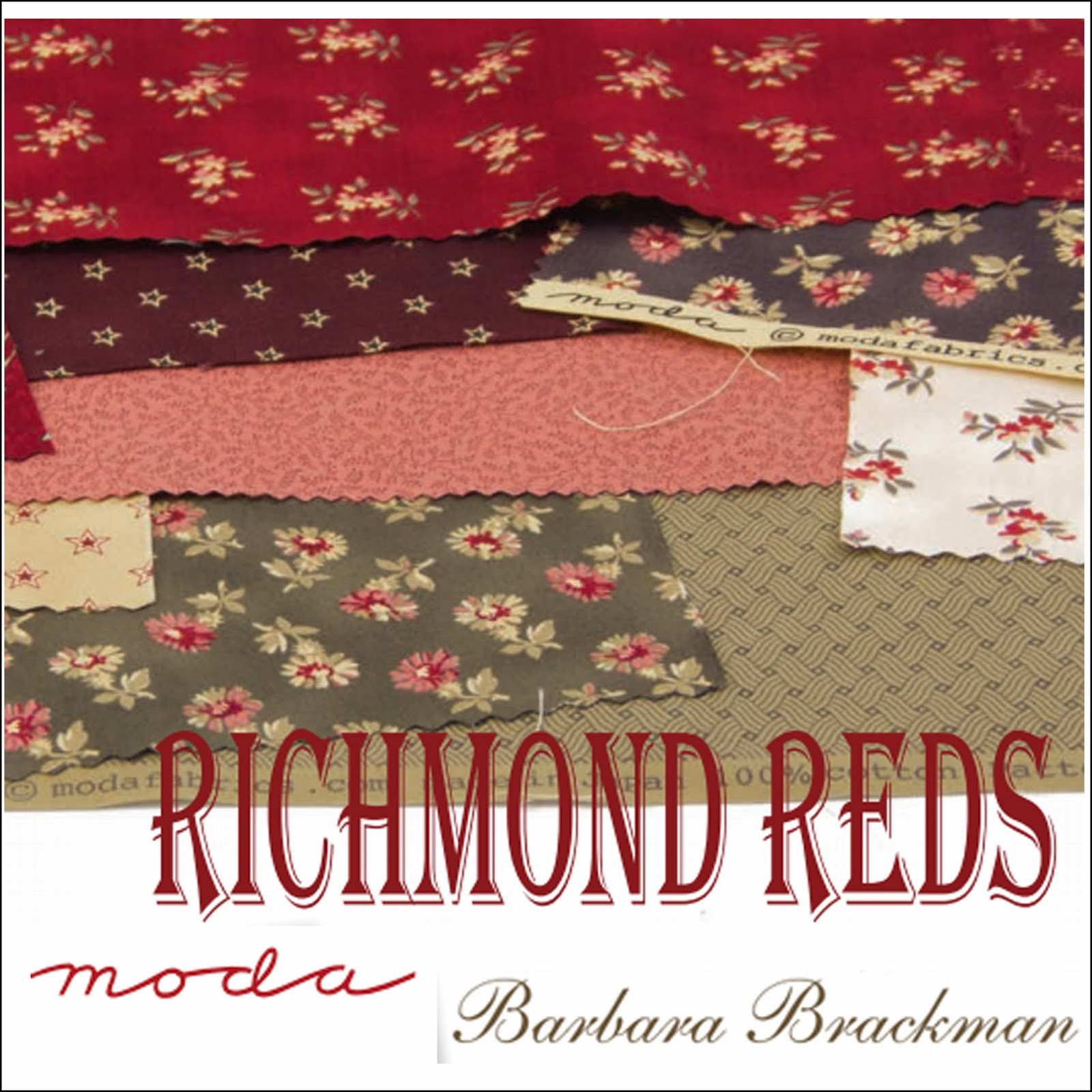 Moda RICHMOND REDS Quilt Fabric by Barbara Brackman for Moda Fabrics