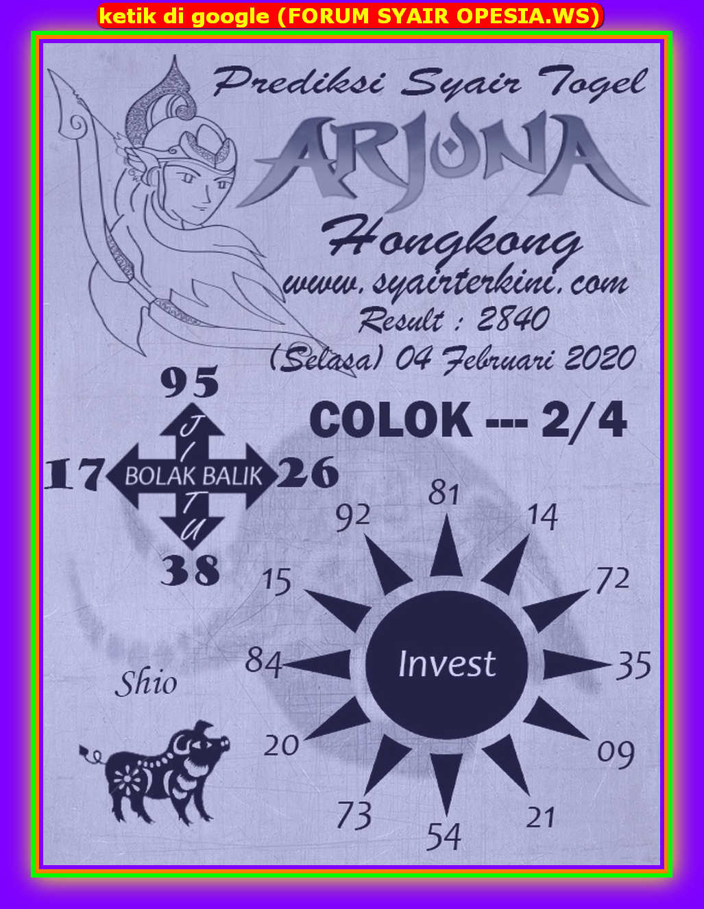 Kode syair Hongkong Selasa 4 Februari 2020 86
