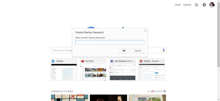 Memasukan password di Simple Startup Password