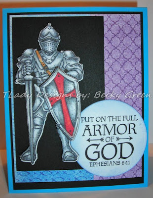 ODBD Armor of God, ODBD Full Armor, ODBD Custom Suit of Armor Die, ODBD Christian Faith Paper Collection, Card Created by Becky Green aka TLady Designs