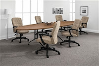 Elliptical Conference Table with Metal Legs