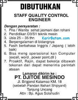 Lowongan Kerja PT. Djito Mesindo Indonesia