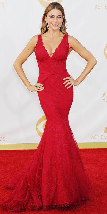 Sofia Vergara in Vera Wang and Lorraine Schwartz jewels at the 65th Annual Primetime Emmy Awards, 2013
