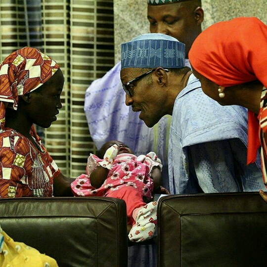 Amina Ali the Chibok girl found visits President Buhari with her baby