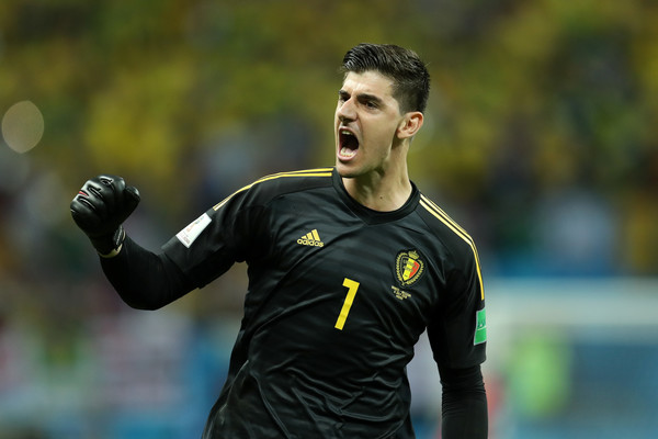 Thibaut Courtois of Belgium celebrates his team's second goal during the 2018 FIFA World Cup Russia Quarter Final match between Brazil and Belgium at Kazan Arena on July 6, 2018 in Kazan, Russia.