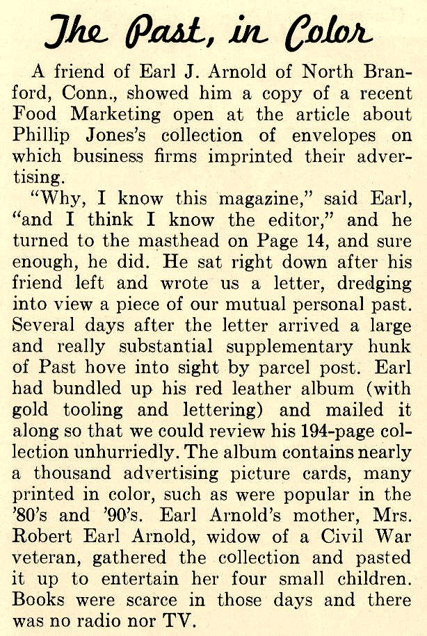 1965 review of Earl J. Arnold Advertising Card Collection