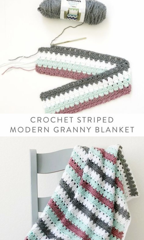 Crochet Striped Modern Granny Blanket - Free Pattern