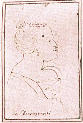 A caricature of Margherita Durastanti by Antonio Maria Zanetti, drawn between 1709 and 1712 while she was prima donna at the Teatro San Giovanni Grisostomo.