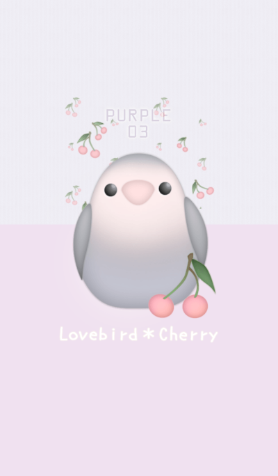 桃面愛情鳥和櫻桃 / 淺紫色 03