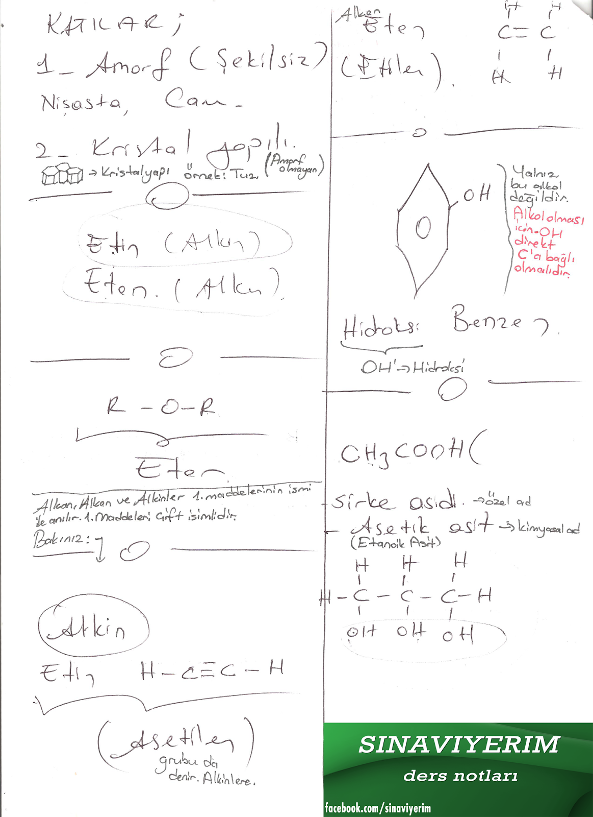 hayatımızda kimya ders notları