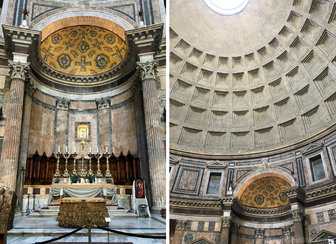 views inside the Pantheon of the altar and the domed ceiling