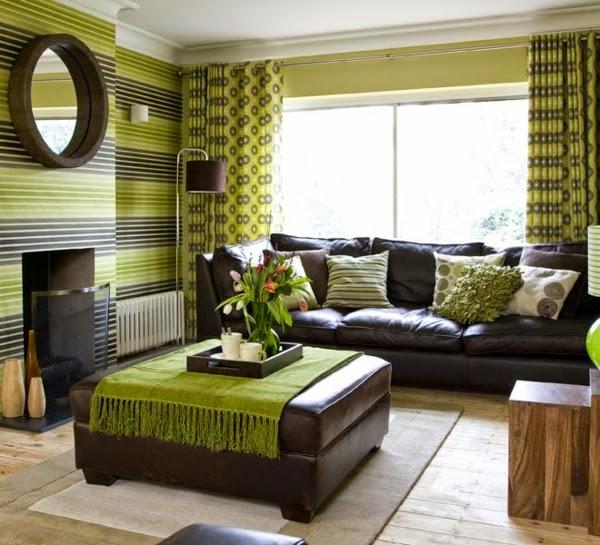 sala en verde y marrón