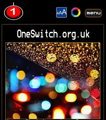 OneSwitch.org.uk new web-site design. Red push-button top left. Access symbols right. Big picture centre.