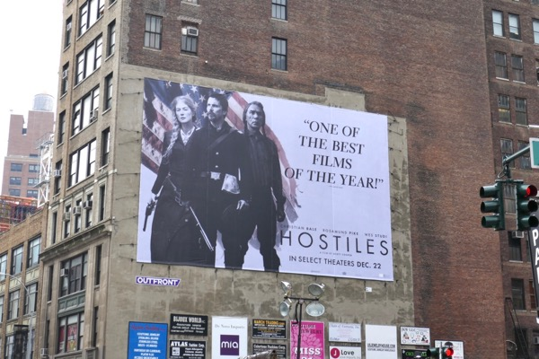 Hostiles movie billboard NYC