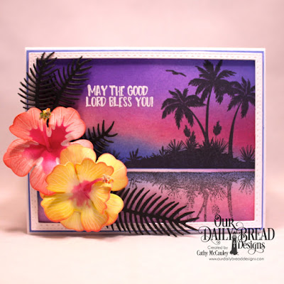 Our Daily Bread Designs Stamp Set: Bon Voyage, Custom Dies: Pierced Rectangles, Double Stitched Rectangles, Hibiscus, Ferns