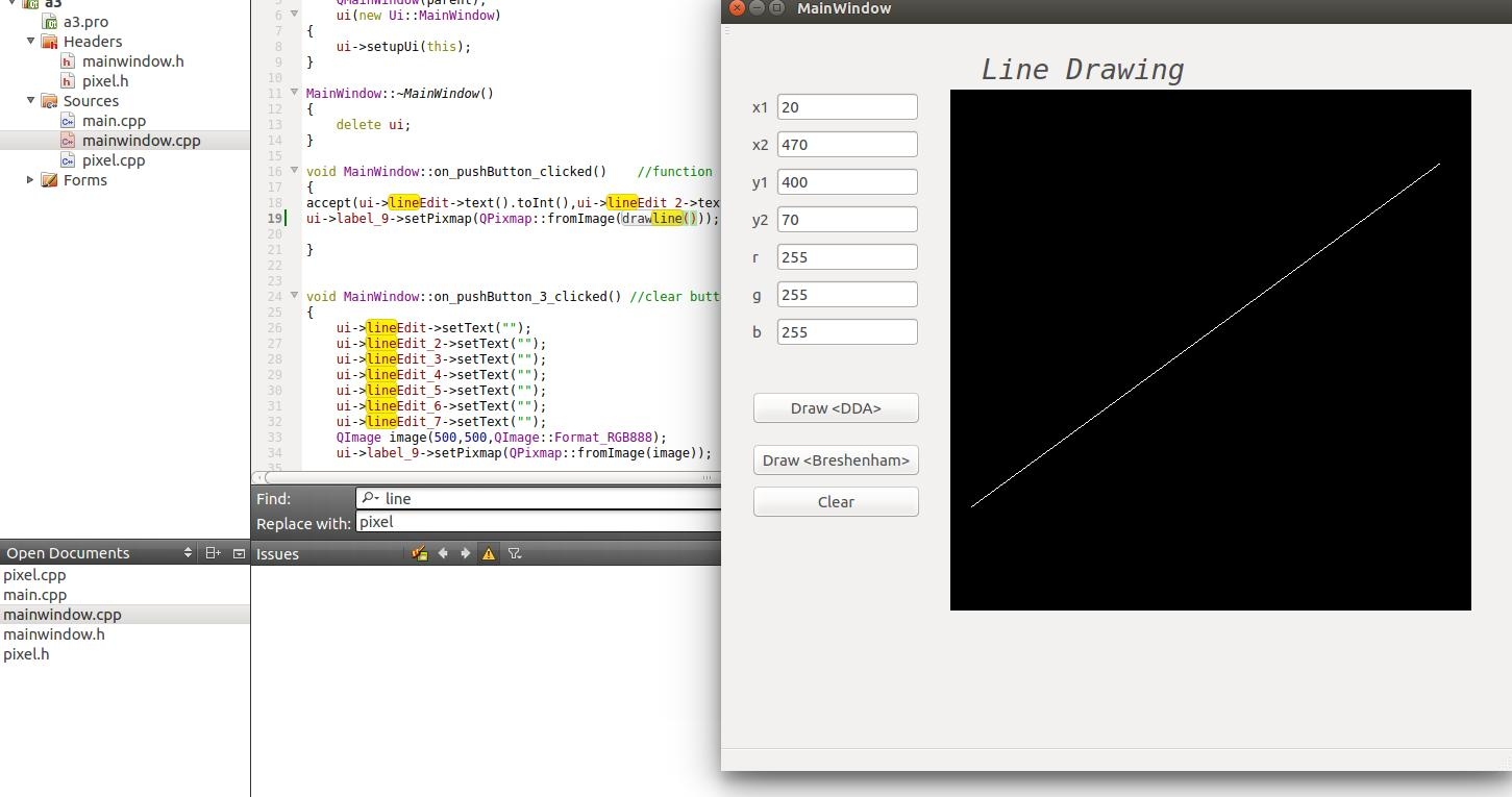 Dda Line Drawing Algorithm In Qt Creator : Programing wonders line drawing using dda and bresenham
