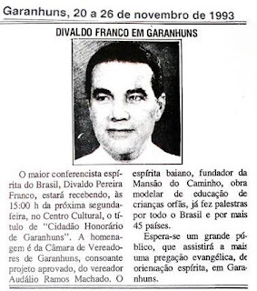 Há 23 anos, Divaldo Franco recebeu o título de cidadão honorário de Garanhuns