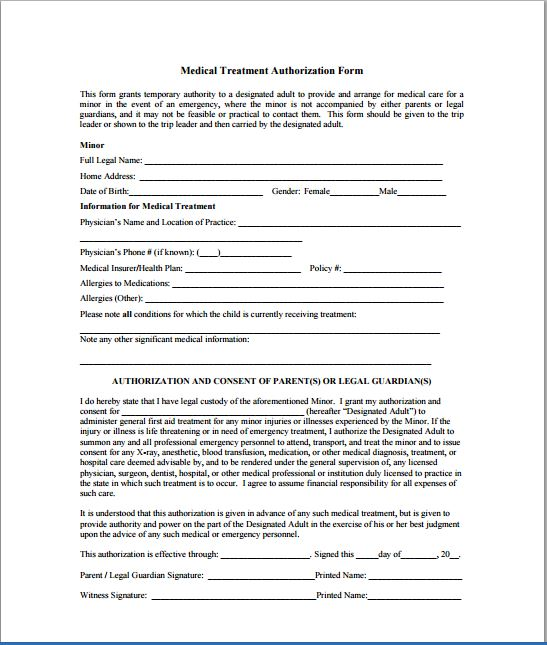 Child Medical Consent Form