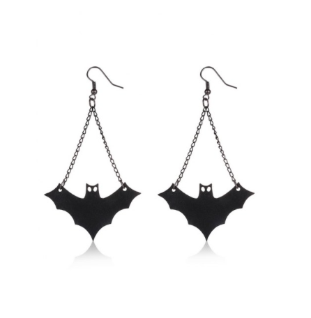 PU Leather bat halloween earrings